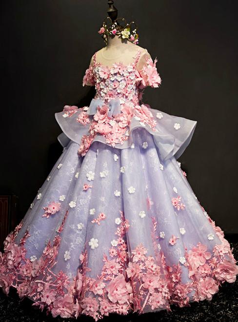 Ball Gown Short Sleeve Blue Appliques Flower Girl Dress