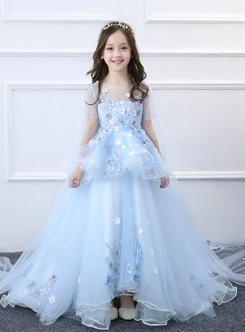 In Stock:Ship in 48 hours Ball Gown Blue Tulle Appliques Flower Girl Dress