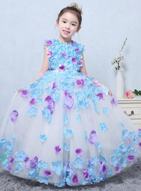 In Stock:Ship in 48 hours Blue Sleeveless Tulle Flower Girl Dress