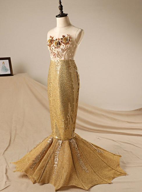In Stock:Ship in 48 hours Mermaid Gold Sequins Flower Girl Dress
