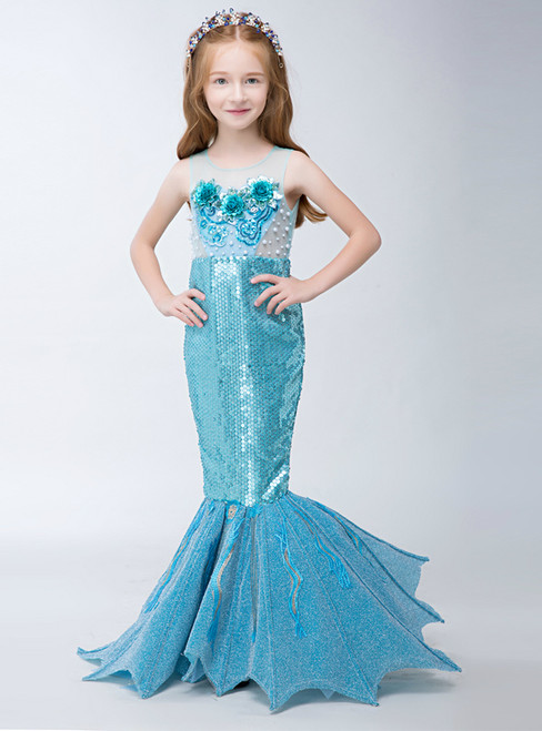 In Stock:Ship in 48 hours Mermaid Blue Sequins Flower Girl Dress