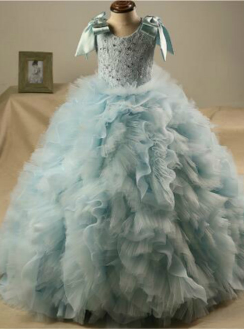 Blue Ball Gown Tulle Bow Sequins Flower Girl Dress