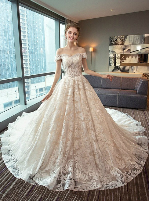 Fashion Ball Gown Off The Shoulder White Tulle Wedding Dress