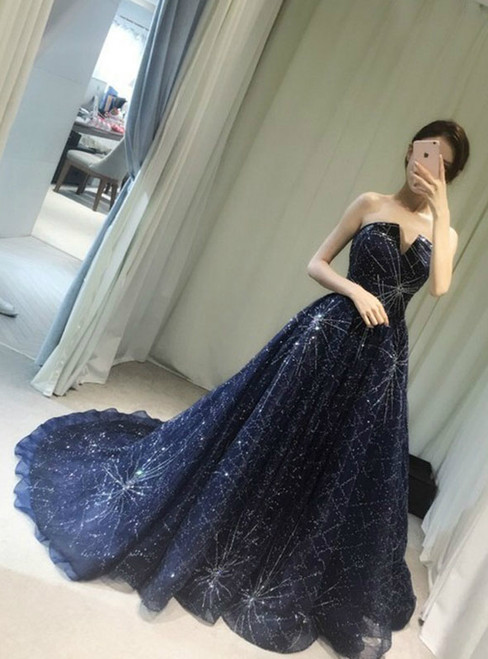 In Stock:Ship in 48 hours Blue Tulle Bling Bling Strapless Prom Dress