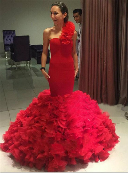 Red One Shoulder Tiered Organza Mermaid Evening Party Dresses