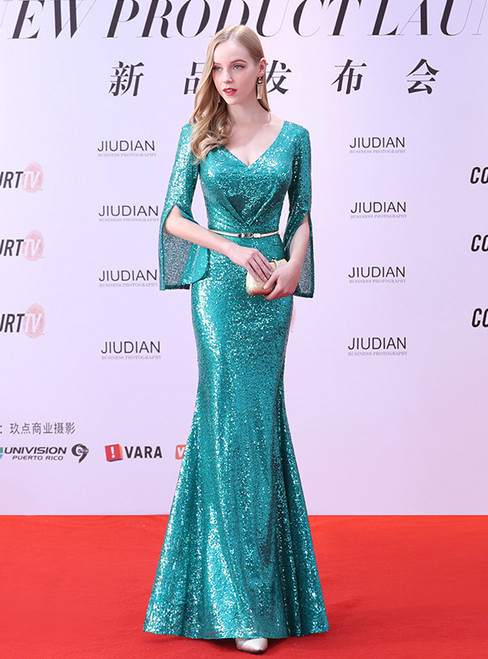 In Stock:Ship in 48 hours Green Mermaid V-neck Sequins Prom Dress