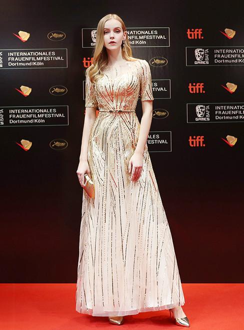 In Stock:Ship in 48 hours  Short Sleeve Gold Bling Bling Prom Dress
