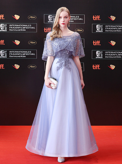 In Stock:Ship in 48 hours A-line Tulle Gray Lace Prom Dress