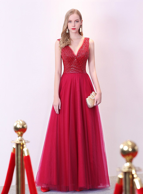 In Stock:Ship in 48 hours Red Deep V-neck Backless Prom Dress