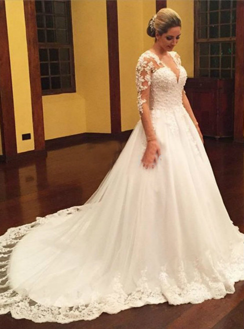 Long Sleeve Sexy V Neckline Wedding Dresses,Ball Gown Lace Wedding Dresses