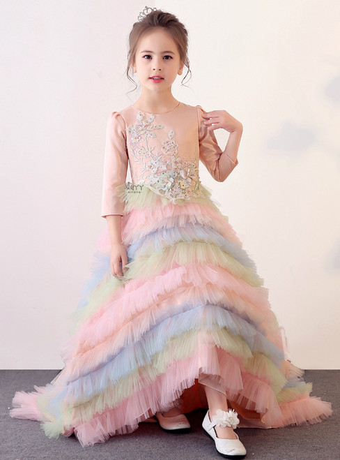 In Stock:Ship in 48 hours Ball Gown Long Sleeve Tulle Ruffle Girl Dress