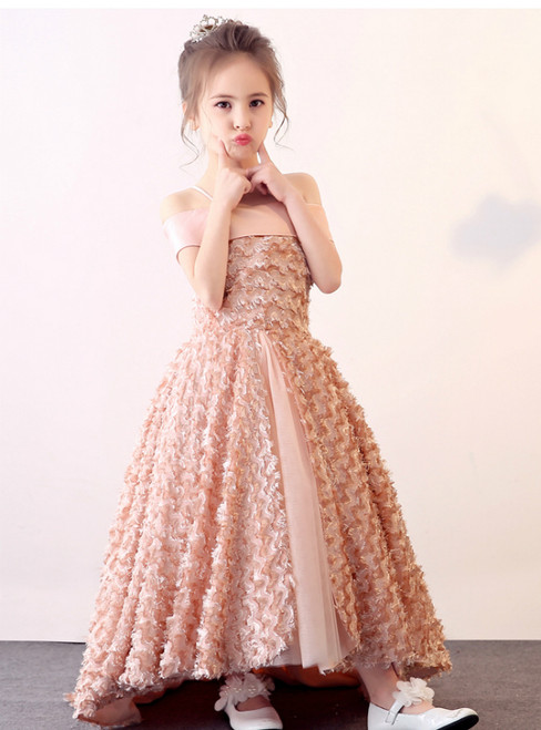 In Stock:Ship in 48 hours Pink Off The Shoulder Flower Girl Dress