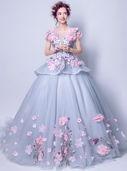 In Stock:Ship in 48 hours Ball Gown Cap Sleeve Tulle Appliques Wedding Dress