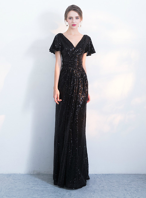 In Stock:Ship in 48 hours Black Sequins Deep V-neck Prom Dress