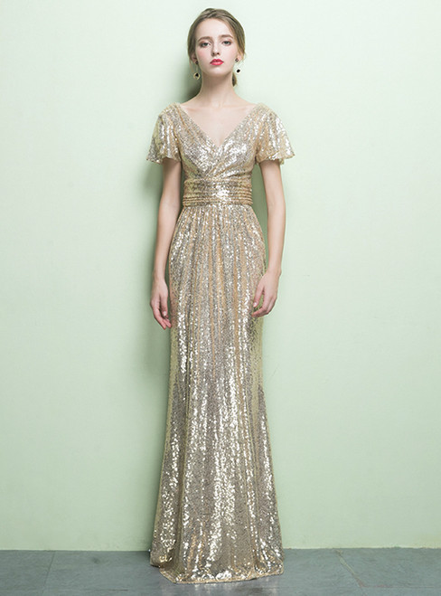 In Stock:Ship in 48 hours Gold Sequins Deep V-neck Prom Dress