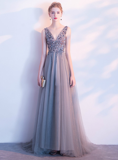 In Stock:Ship in 48 hours Gray Tulle V-neck Sequins Prom Dress
