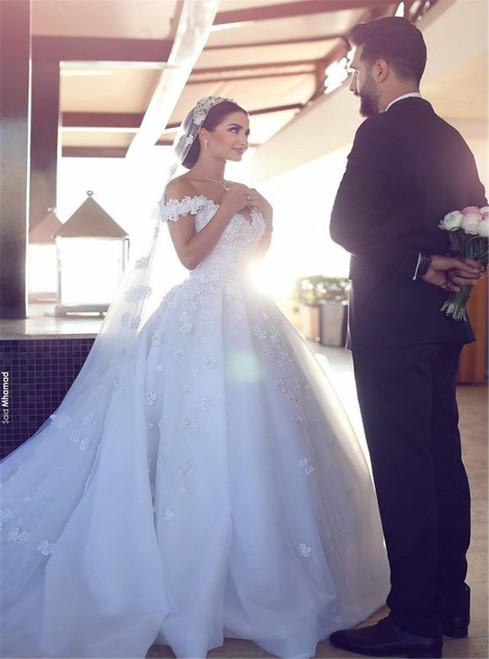 Long Sleeve Gold Luxury Diamond Sparkly Wedding Dress 2017