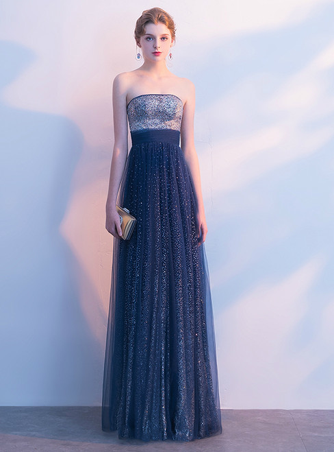 In Stock:Ship in 48 hours Strapless Blue Tulle Bling Bling Prom Dress