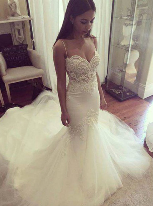 Mermaid Wedding dress,Sexy Beaded Lace Mermaid Wedding Dresses,