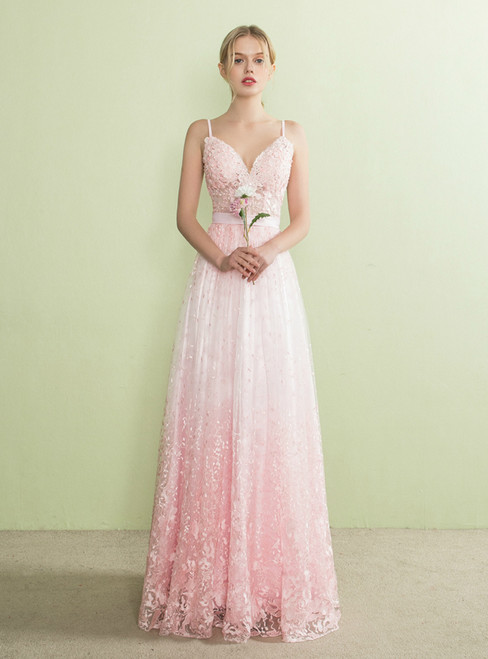 In Stock:Ship in 48 hours Pink Lace Straps Backless Prom Dress