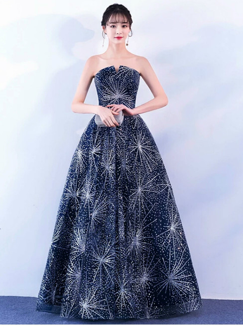 In Stock:Ship in 48 hours Blue Bling Bling Floor Length Prom Dress