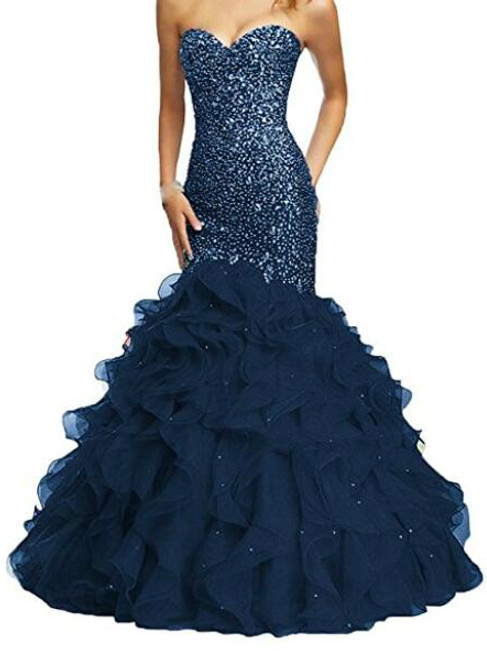 Women's Beaded Sweetheart Lace Up Mermaid Prom Dresses