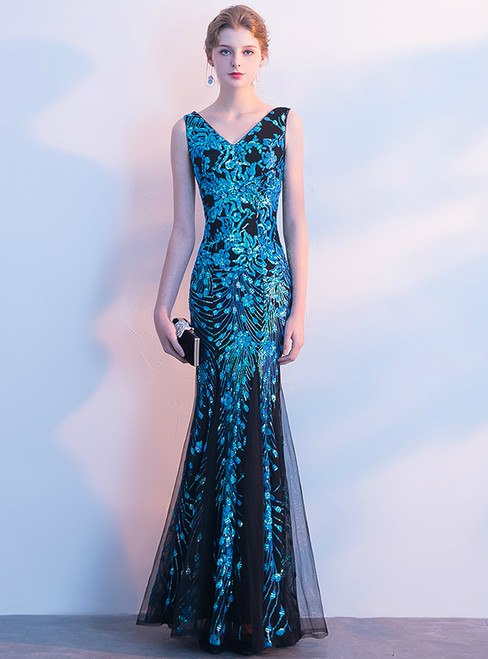 In Stock:Ship in 48 hours Mermaid Tulle Sequins V-neck Prom Dress