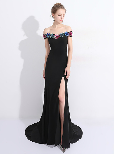 In Stock:Ship in 48 hours Mermaid Black Satin Sequins Off The Shoulder Prom Dress