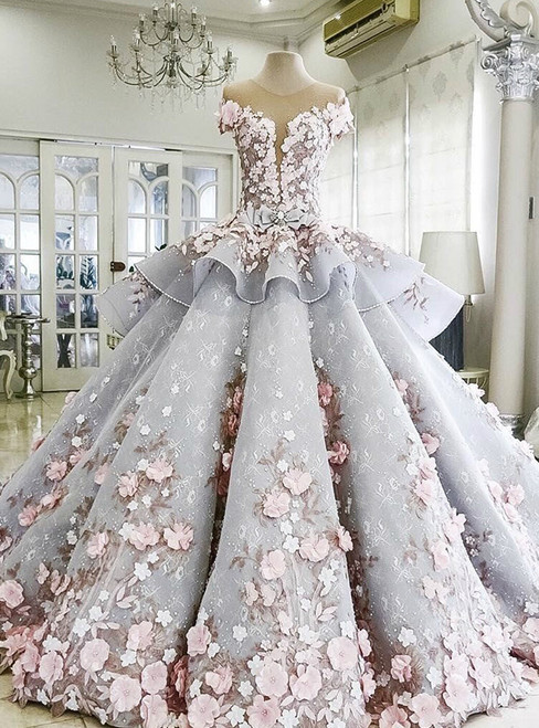 Haute Couture Ball Gown Blue Appliques Wedding Dress