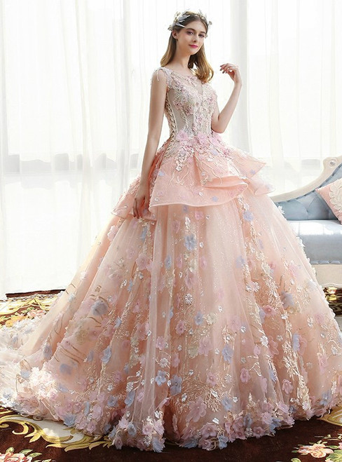 Haute Couture Pink Ball Gown Tulle Appliques Wedding Dress
