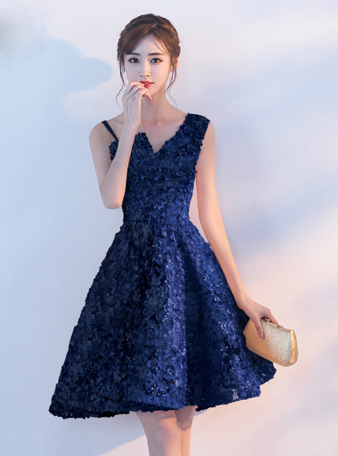 In Stock:Ship in 48 hours Blue Lace Homecoming Dress