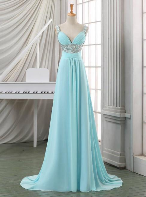 Blue Empire Spaghetti Straps Chiffon Backless Long Prom Dresses