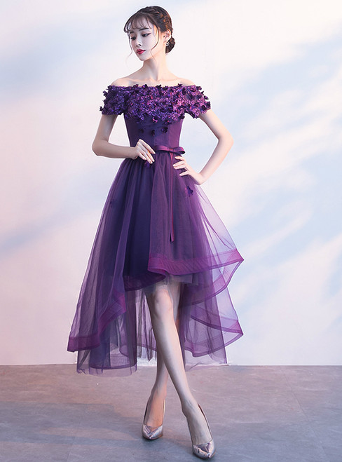 In Stock:Ship in 48 hours Purple Off The Shoulder Tulle Hi Lo Dress