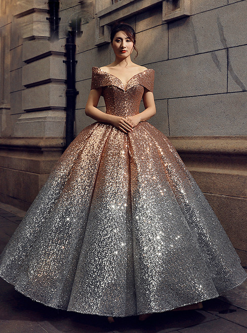 Ball Gown Gold Silver Sequins Off The Shoulder Prom Dress