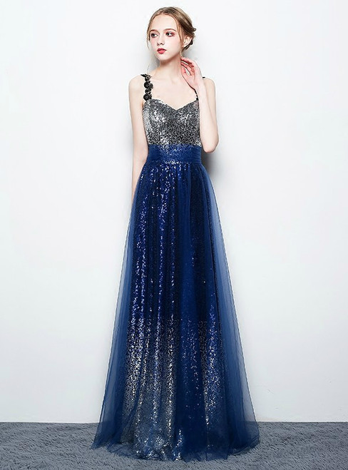 In Stock:Ship in 48 hours Blue Sequins Straps V-neck Prom Dress