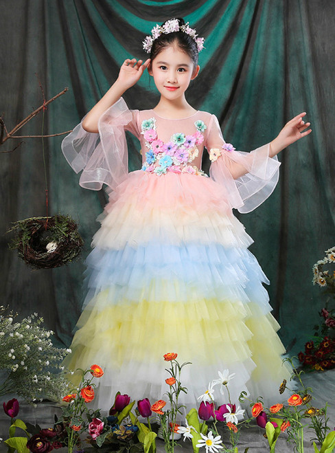 In Stock:Ship in 48 hours Pink Ball Gown Tulle Ruffle Flower Girl Dress