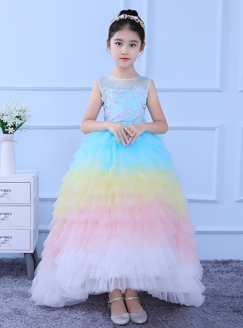 In Stock:Ship in 48 hours Ball Gown Multicolour Tulle Flower Girl Dress