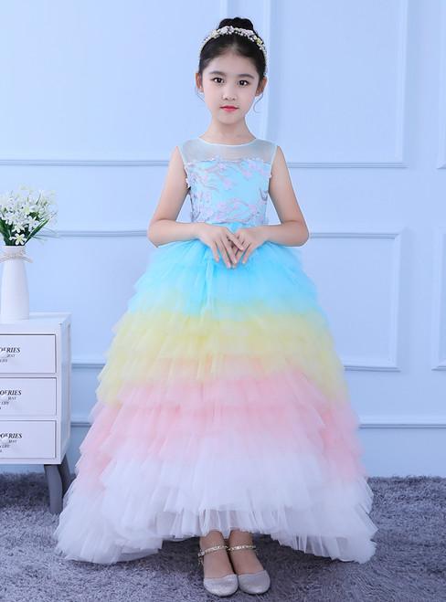 In Stock:Ship in 48 hours Ball Gown Multicolour Tulle Flower Girl Dress