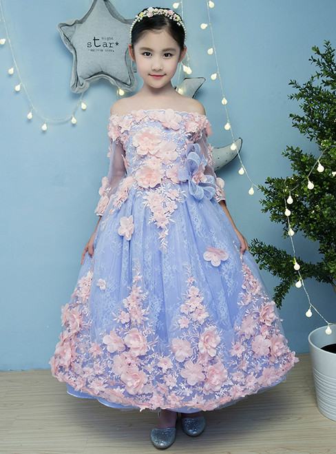 In Stock:Ship in 48 hours Blue Tulle Appliques Flower Girl Dress