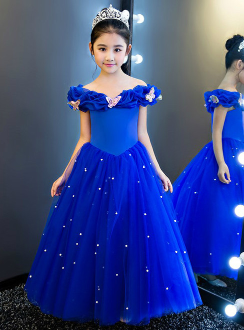 In Stock:Ship in 48 hours Blue Off The Shoulder Tulle Girl Dress