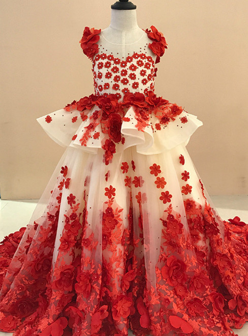 Ball Gown Champagne Tulle Red Appliques Flower Girl Dress