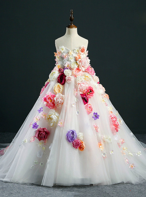 Fashion Ball Gown White Tulle Sweetheart Neck Flower Girl Dress