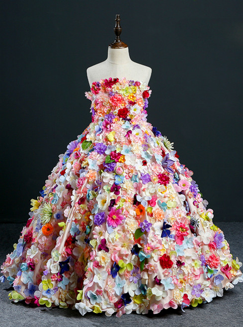 Ball Gown Multicolour Flower Strapless Flower Girl Dress