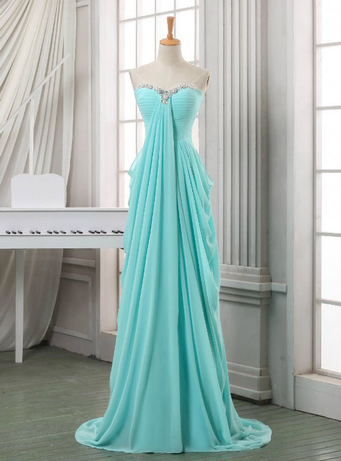 Long Blue Pleated Chiffon Sweetheart Neck Backless Prom Dresses