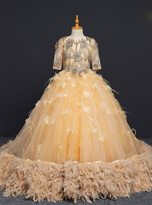Champagne Short Sleeve Tulle Appliques Flower Girl Dress