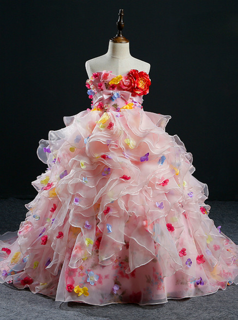 Ball Gown Pink Strapless Tulle Flower Girl Dress