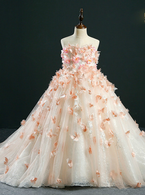 Ball Gown Yellow Tulle Appliques Flower Girl Dress