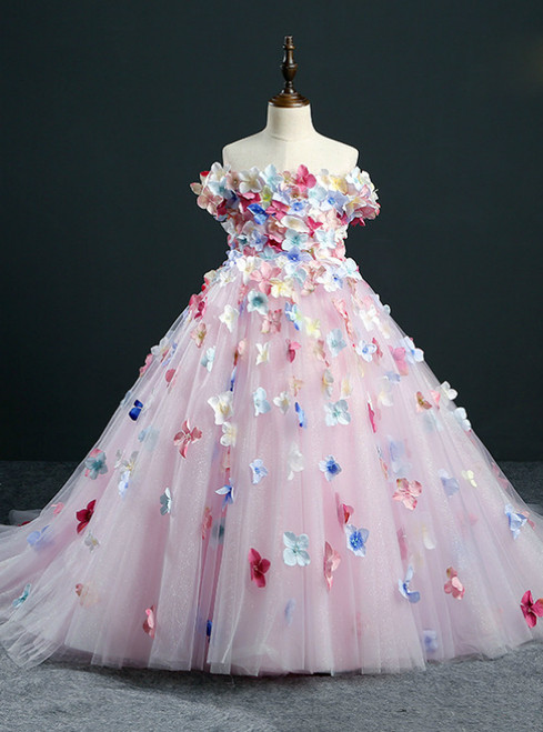 Pink Ball Gown Tulle Off The Shoulder Flower Girl Dress