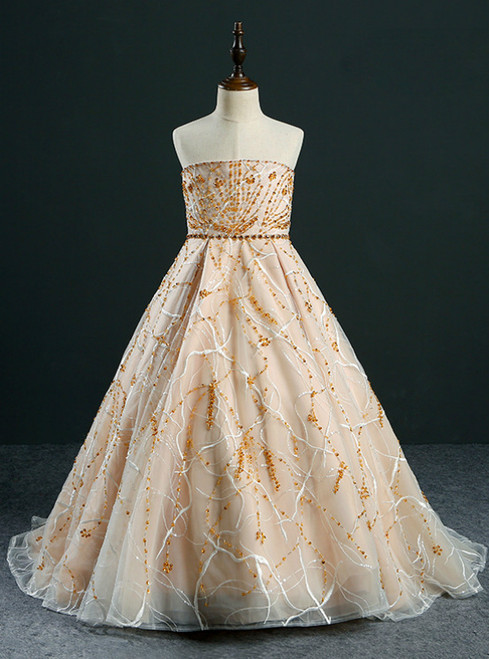 Ball Gown Strapless Gold Tulle Beading Flower Girl Dress