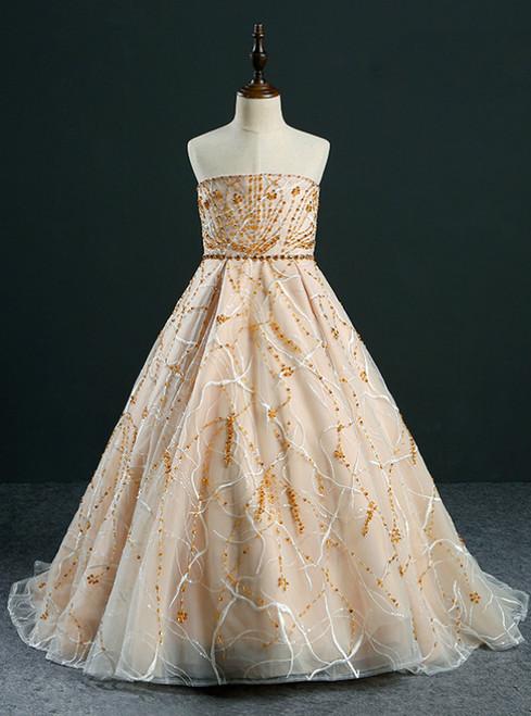 Ball Gown Strapless Gold Tulle Beading Flower Girl Dress